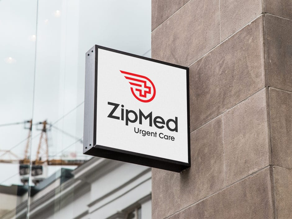 Hanging Wall Sign MockUp Zipmed urgent Care
