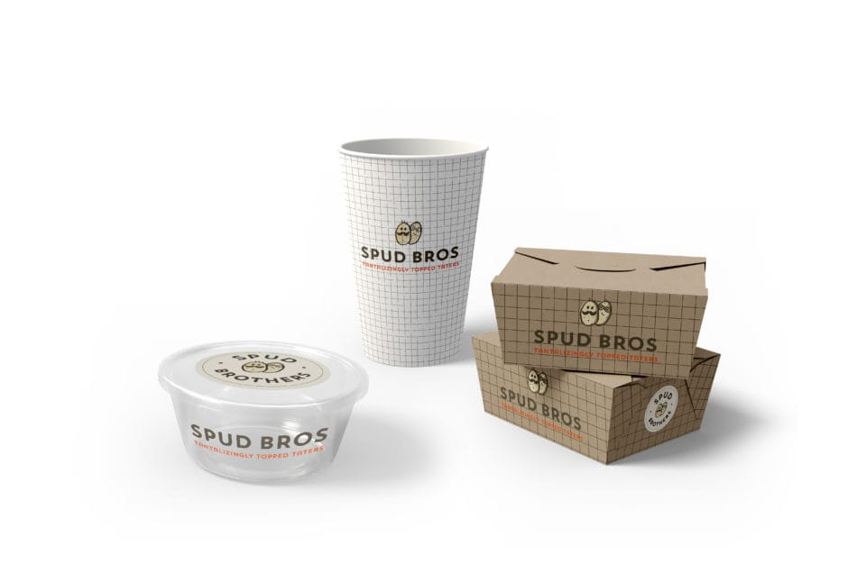 Spud Bros food containers.